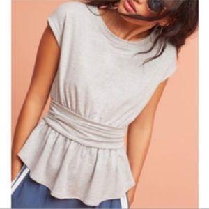 Anthropologie postmark gray peplum knit top